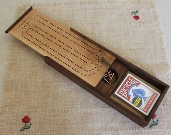 Continuous, Two Track Cribbage Board with Card and Peg Storage, Made from American Walnut and Hard Maple