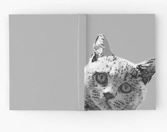 Grey British Blue Cat Hardback Notebook - Grey - British Shorthair Cat - British Blue - Grey Cat - Cat Print - Notebook - Sketchbook