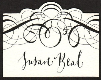 place card with calligraphy