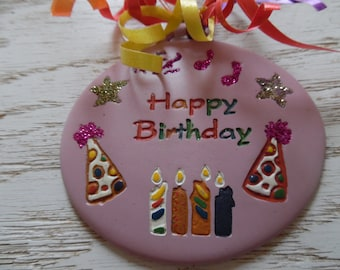Happy Birthday pink ornament/gift tag