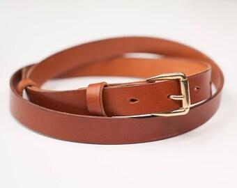 "Thin leather belt, 0.75"", Leather belt women, Women belt, Women belt for dress, Camel belt, Tan leather, Gift for her, Birthday gift"