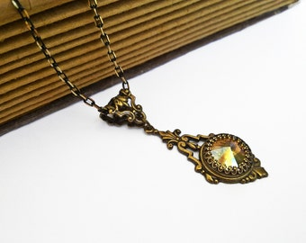 Clothing Gift Antique Brass Necklace Swarovski Crystal Necklace Victorian Necklace Vintage Style Swarovski Jewelry