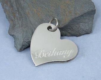 Engraved Name Pendant, Custom Heart Pendant, Personalized Heart Pendant Stainless Steel Silver Heart Charm Sweetheart Pendant |2226