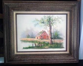 Melton Original Oil on Canvas Painting Mid Century