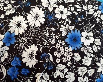 Floral cotton, indigo flowers on monochrome floral backdrop, striking, remnant piece only