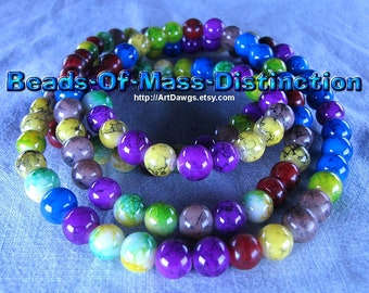 8mm Glass Jewel Beads - 1 36 Inch Strand - Multi-colored - Destash Sale