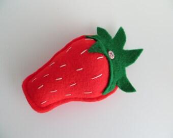 Hand sewn felt strawberry pincushion