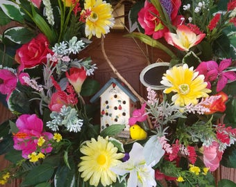 Spring summer wreath-Front door wreath-Summer Wreath-Spring Wreath-Easter Wreath-Welcome Spring Summer wreath- Welcome birdhouse wreath