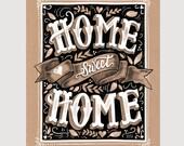 Home Sweet Home Print - Everyday Wall Art - Kraft Paper Print - Hand Lettered Art - Wall Art - Home Decor - Kraft Paper