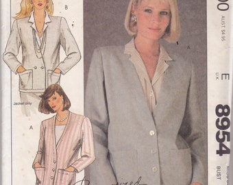 McCalls 8954 Vintage Pattern Womens Single or Double Breasted Jacket Size 10