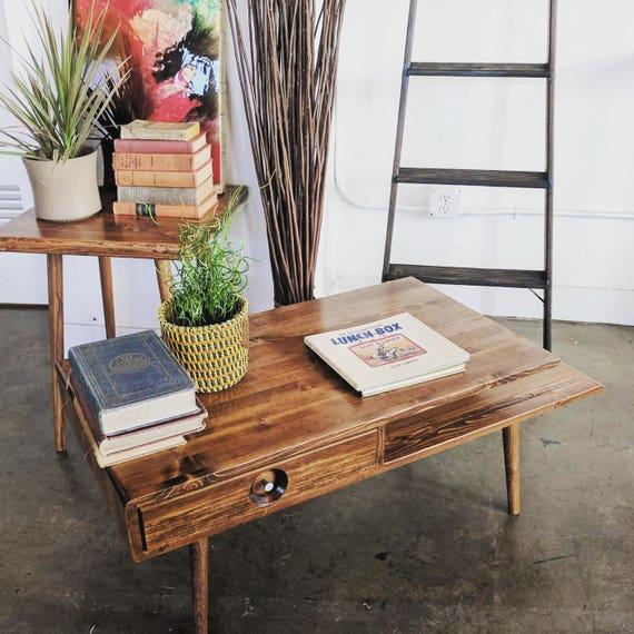 Solid Wood Mid Century Coffee Table: Mid Century Coffee Table Solid Wood MADE TO ORDER 90 Days