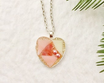 Mosaic pendant heart necklace rosy peach coral and ivory stained glass peach glass beads resin