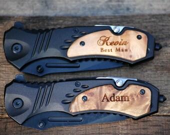 Groomsmen Gift, Set of 7, Wood Handle Pocket Knife Gift Set - Personalized Knife, Engraved Knife, Hunting Knives - Wedding Party Knives Men