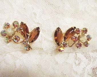 Vintage Rhinestone and Aurora Borealis Clip Earrings