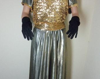 Gold Silver sequence Metallic Dress balloon skirt Halloween Dance Costume Adult