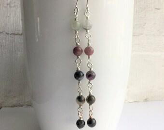 Gemstone earrings, October birthstone earrings, tourmaline earrings, tourmaline jewellery, long earrings, rosary earrings, handmade