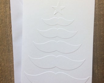 Mustache Christmas Tree Card, Christmas Card Set, Mustache Tree Card, White Embossed Card, Stationery Set, Greeting Cards, Blank Note Cards