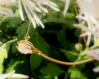 Collier crystal de roche, crystal necklace, brass, minimal necklace, flower necklace, woman gift