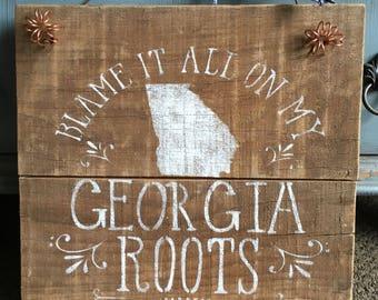 Rustic Georgia State Barnwood Sign
