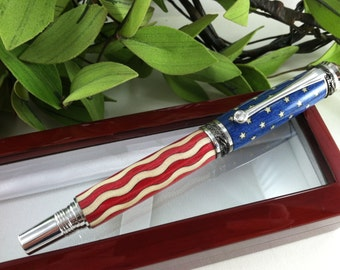 American Flag Wood Inlay Calligraphy Fountain Pen or Rollerball with a Swarovski Crystal Accent - FREE Engraving