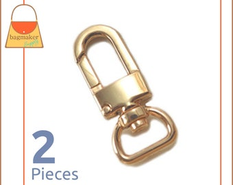 """1/2 Inch Swivel Snap Hooks, Gold Finish, Lobster Claw,  2 Pieces, .5 Inch, 1/2"""", Handbag Purse Bag Making Hardware Supplies, SNP-AA024"""