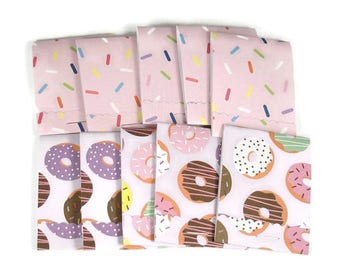 Party Favor Set of 20 Matchbook Notepads Mini Note Pads in Sprinkled Donuts