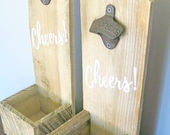 Reclaimed Wood Bottle Opener | Cheers! | Wall Mounted Bottle Opener