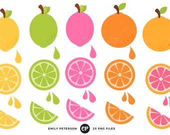 Lemon Clip Art, Lime Clipart, Citrus Clip Art - Commercial Use, Instant Download