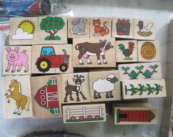 Farm Rubber Stamps assortment lot of 20 farm stamps and 27 alphabet stamps For scrapbooking  used