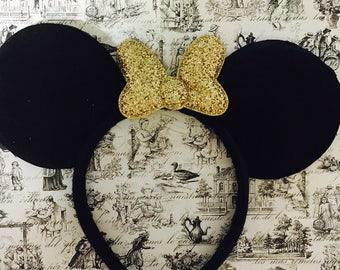 Cute Gold Glitter Minnie Bow inspired Black Sparkle Minnie Mouse Headband Ears