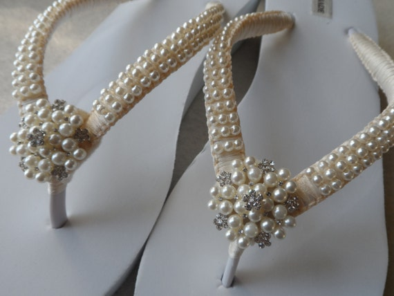 a7f6a7c8a24f ... Flip Flops Pearls Flip Bridal Shoes Sandals Bridesmaids Wedge Wedding  Pearls Ivory Rhineston Sandals Flops qtBxEU5wE