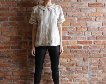 Linen Blouse / loose  linen Top  / Handmade Linen Shirt Peter Pan Collar Women's Retro Linen Blouse Washed Linen Natural Flax Linen Blouse