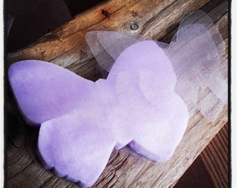 set of 100 organza butterflies purple 95 * 80mm