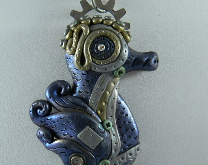 Steampunk Seahorse pendant and necklace Purple