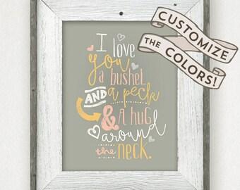I Love You a Bushel and a Peck • Doris Day • Baby Shower Gift • Bushel and a Peck quote • Baby Room Printable • Nursery Print 8 x 10 11 x 14