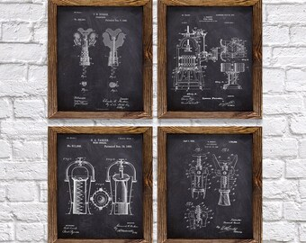 """Wine Gifts! - Set of Four 8""""x10"""" Vintage Wine Theme Patent Prints - Great Gift for Wine Lovers!"""