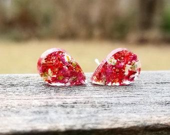 Real Flower Earrings, Jewelry, Teardrop Earrings, Bohemian, Boho Style, Nature, Stud Earrings, Post Earrings, Floral Jewelry, Jewellery