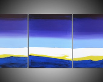 Original Art by UK artist 3 panel abstract painting triptych large wall canvas office home abstract paintings on hanging kunst 27 x12