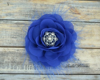 Royal Blue Chiffon Flower Hair Clip | Vintage Inspired Bridal Hair Piece | Fascinator | Girl Feathers Pearl Rhinestone | Feathers Rose