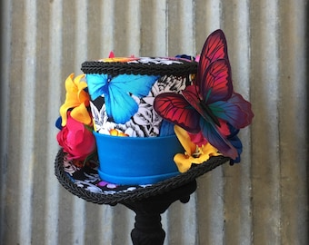 Kentucky Derby Rainbow Hat, Mini Top Hat, Rainbow Butterfly Hat, Royal Ascot, Horse Race hat, Butterfly Hat, Tea Party hat, Mad Hatter hat