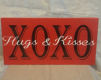 XOXO Hugs & Kisses wood sign