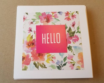 HELLO handcrafted greeting card. Blank greeting card. Worldwide shipping available