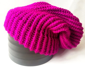 Colourful Slouch Knit Beanie - Knitted Adult/Teen Slouch Hat