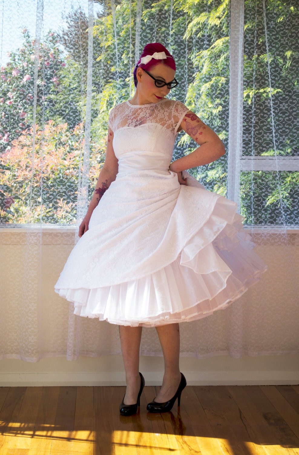 1950s Rockabilly Wedding Dress Lacey With Lace