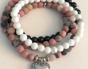 Heart Charm on Beautiful Rhodonite Bead Bracelet