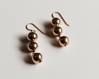 Gold Bead Earrings / Gold Drop Bead Earrings