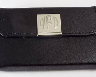 Custom Engraved Card Case Personalized Black Leatherette Business Card Holder  -Hand Engraved
