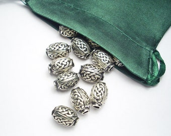 Celtic Knotwork Oval Bead Artisan Welsh Pewter Lead-Free Nickel-Free