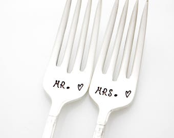 Mr & Mrs wedding forks. Hand Stamped Forks, stamped silverware for engagement gift. As featured by Martha Stewart Weddings.