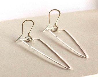 Triangle Hoop Earrings, Sterling Silver Hoops, Long Hammered Hoops, Long Dangle Earrings, Geometric Earrings, Gold Hoop Earrings, Boho Chic